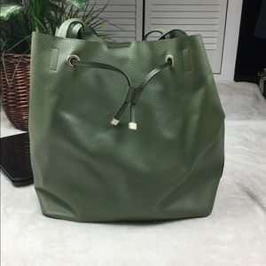None Bags - ARMY GREEN LARGE TOTE GOLD HARDWARE